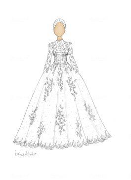 Wedding dress sketch hijab