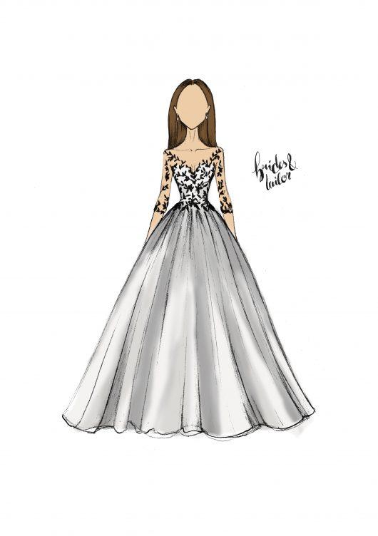 Wedding Dress Sketch by Brides & Tailor