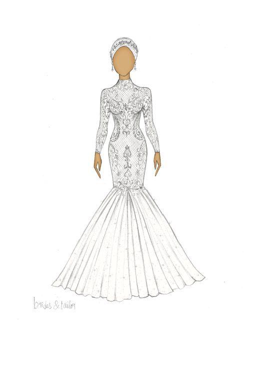 Hijab wedding dress sketch
