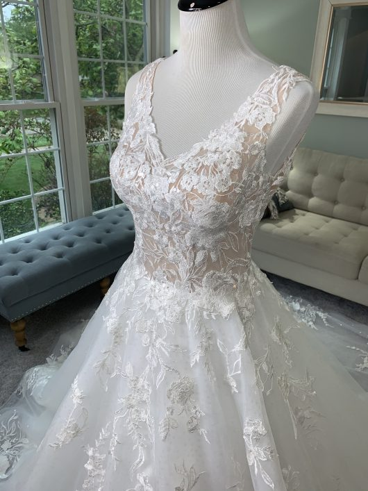 Custom Wedding Dress With Floral Lace and Sparkles